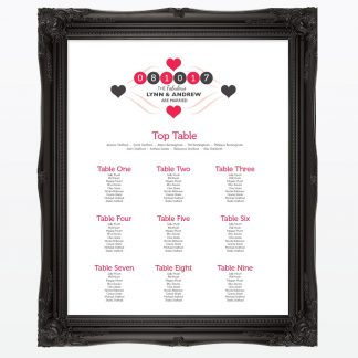 Viva Las Vegas Table Plan - Wedding Stationery