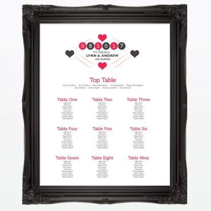 Viva Las Vegas Table Plan - Wedding Stationery