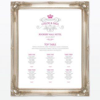 Royal Elegance Table Plan - Wedding Stationery