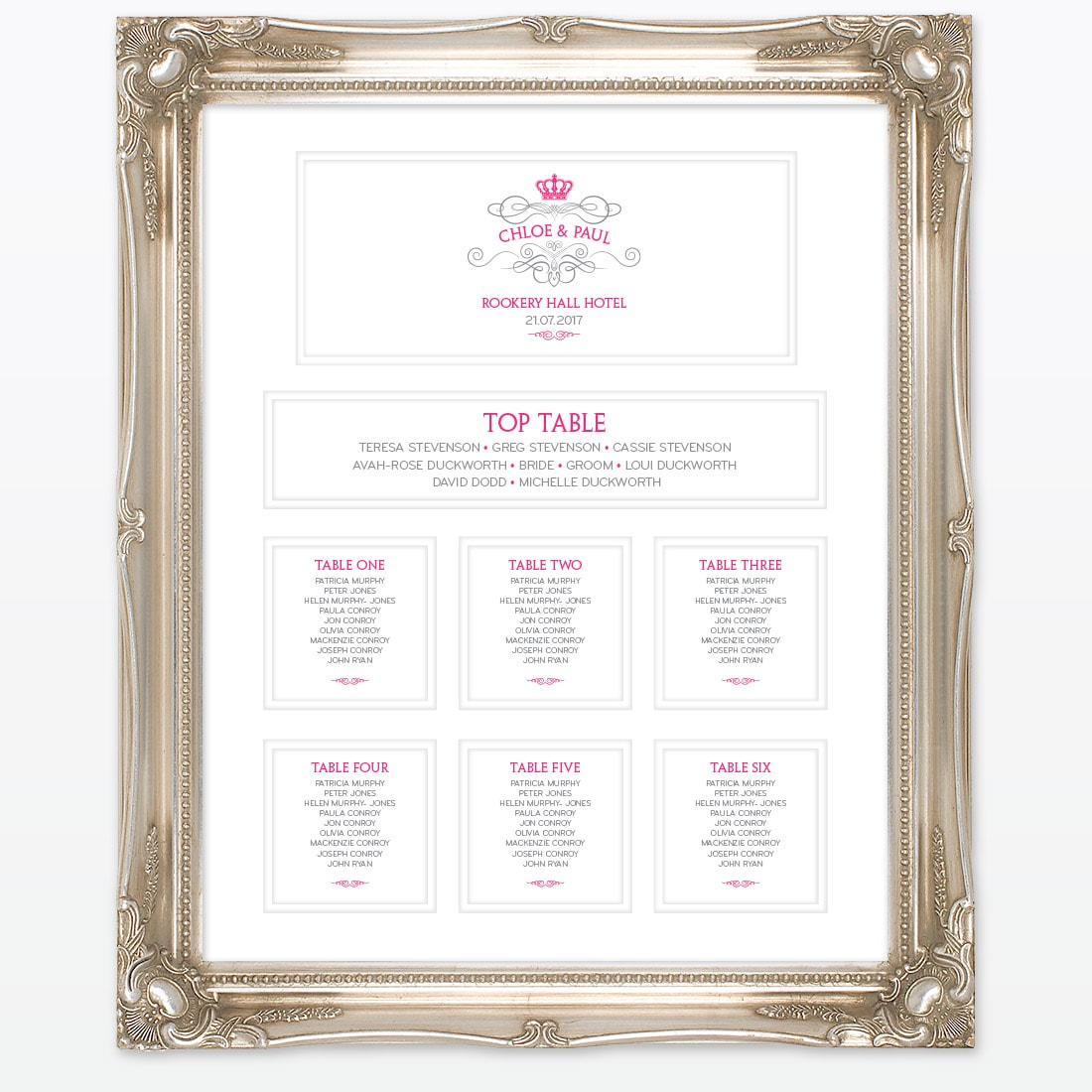 Royal Elegance Table Plan | Love Invited Wedding Stationery