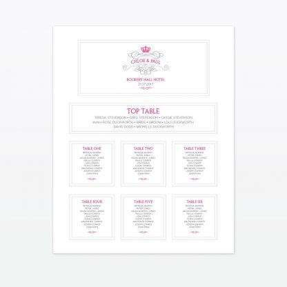 Royal Elegance Table Plan - Wedding Stationery