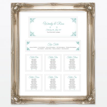 Vintage Chic Table Plan - Wedding Stationery