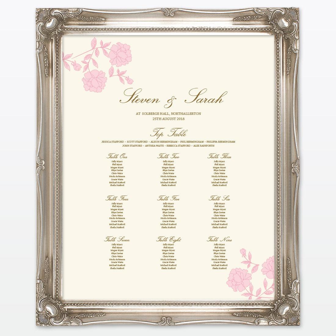 Vintage Rose Table Plan - Love Invited - Luxury Wedding Invitations ...