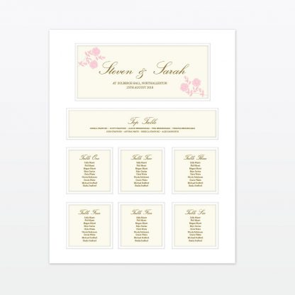 Vintage Rose Table Plan - Wedding Stationery