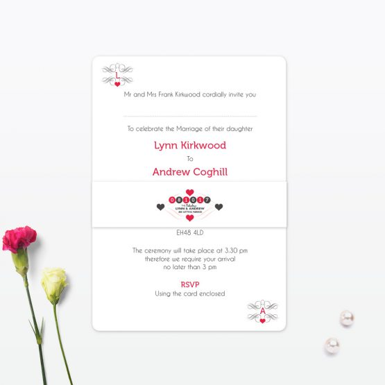 Las Vegas Day Wedding Invitation Belly Band