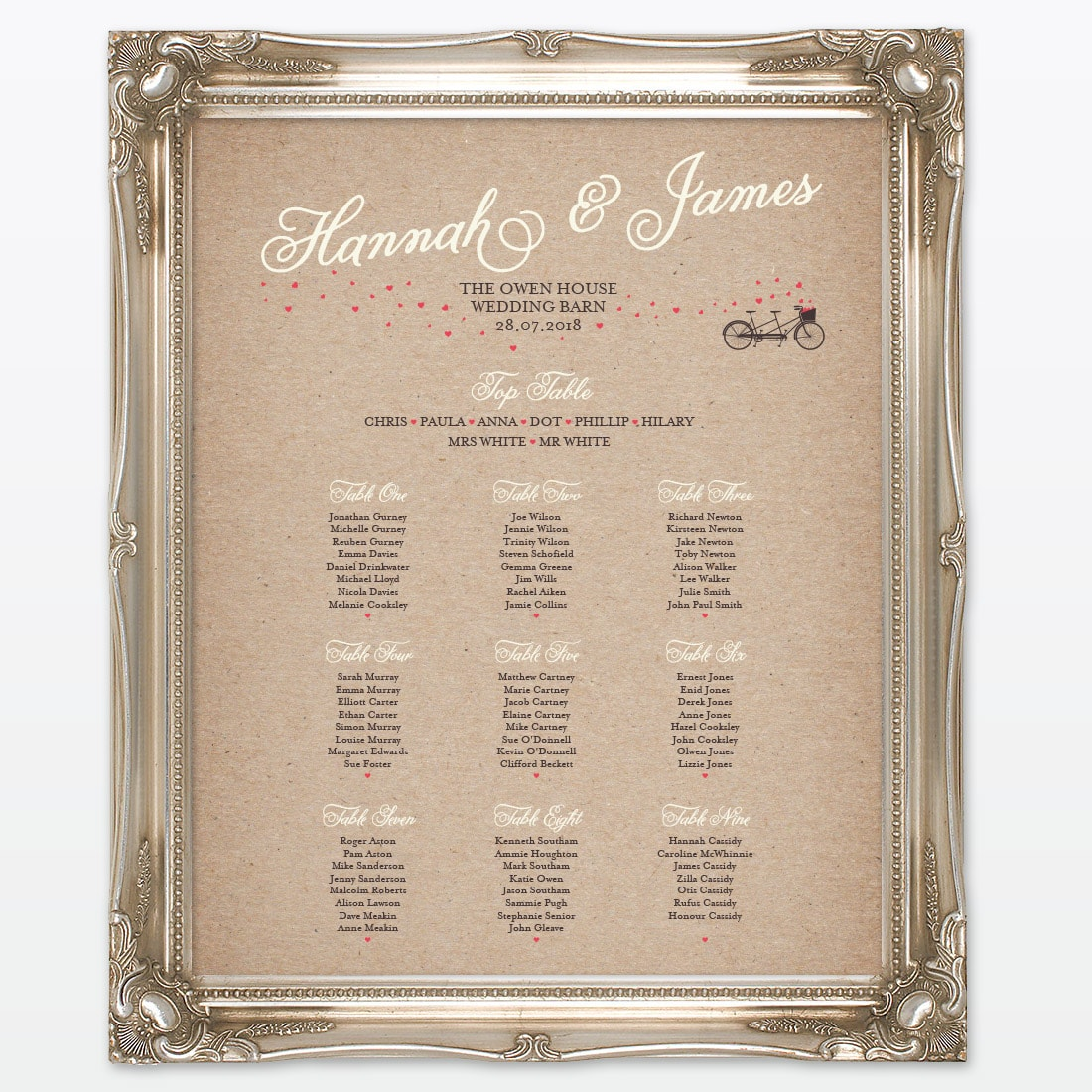 Wedding Table Plans Ideas: Heart & Bicycles Table Plan