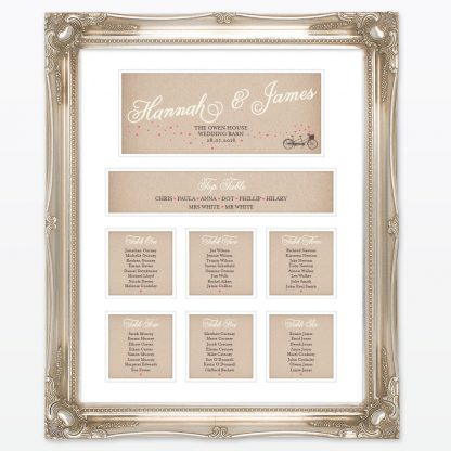Heart & Bicycles Table Plan - Wedding Stationery