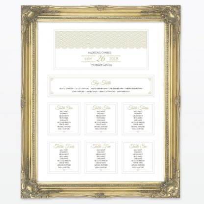 Hollywood Glamour Table Plan - Wedding Stationery
