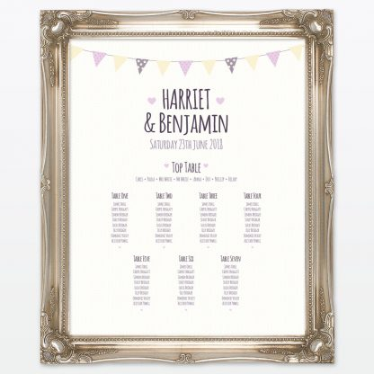 Country Bunting Table Plan - Wedding Stationery