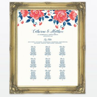 Vintage Floral Table Plan - Wedding Stationery