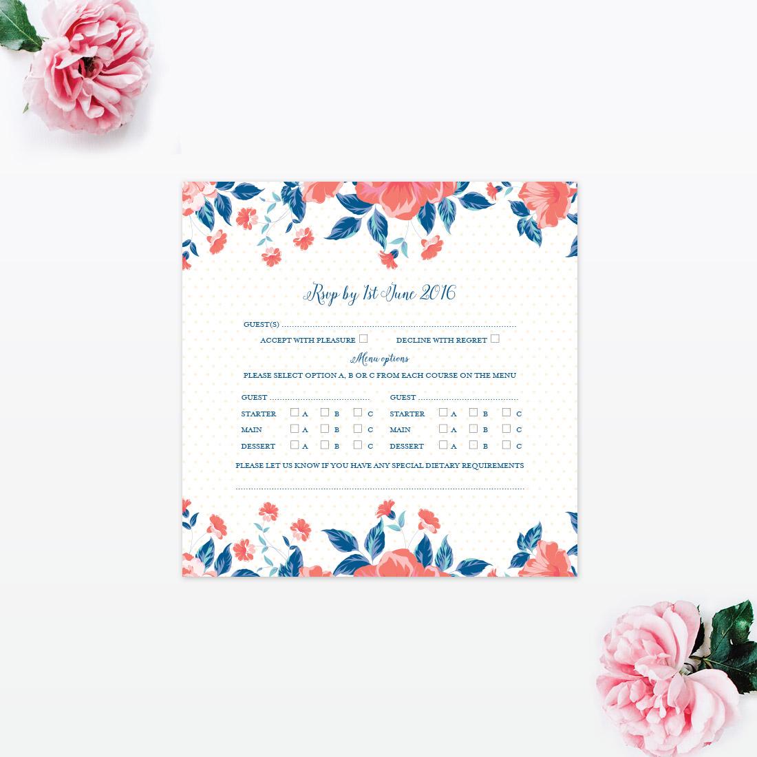 vintage floral rsvp love invited