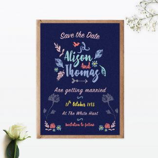 Flora and Fauna Save The Date - Wedding Stationery