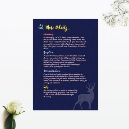 Flora and Fauna Additional Information - Wedding Stationery