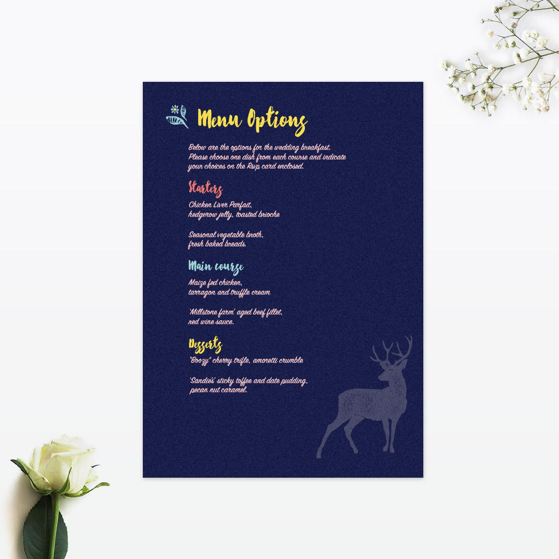 Love Invited, Flora & Fauna Invitation Menu