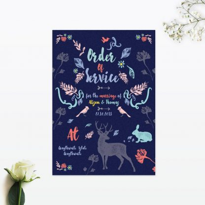 Flora and Fauna Order of Service - Wedding Stationery