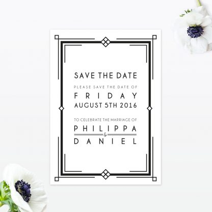 Art Deco Save the Date - Wedding Stationery