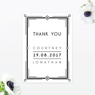 Art Deco Thank You Card - Wedding Stationery