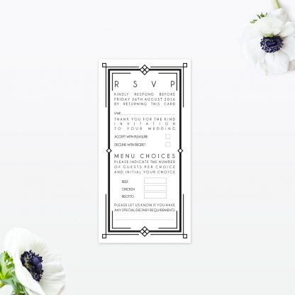 Art Deco RSVP - Wedding Stationery