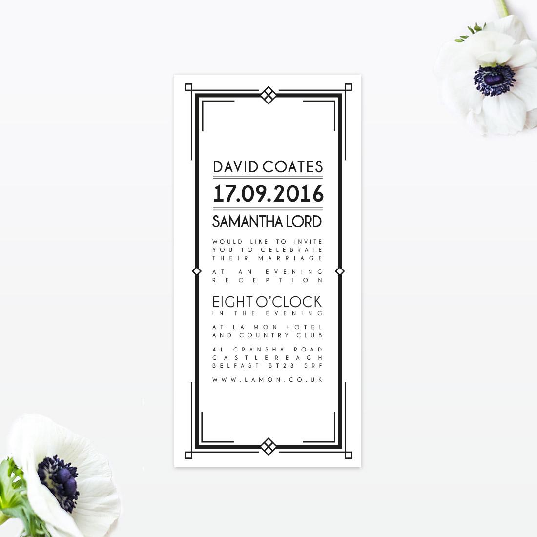 Art Deco Evening Invitation - Love Invited - Luxury Wedding ...