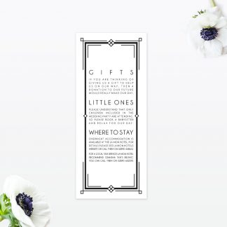 Art Deco Additional Information - Wedding Stationery