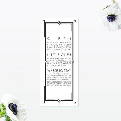 Art Deco Additional Information - Wedding Stationery