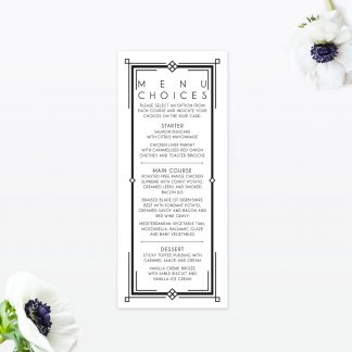 Art Deco Invitation Menu - Wedding Stationery