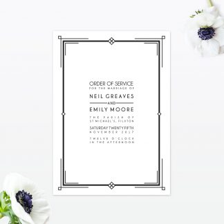 Art Deco Order Of Service - Wedding Stationery