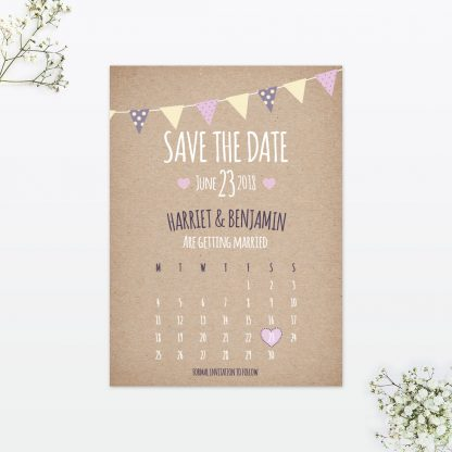 Country Bunting Save the Date - Wedding Stationery