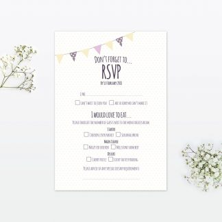 Country Bunting RSVP - Wedding Stationery
