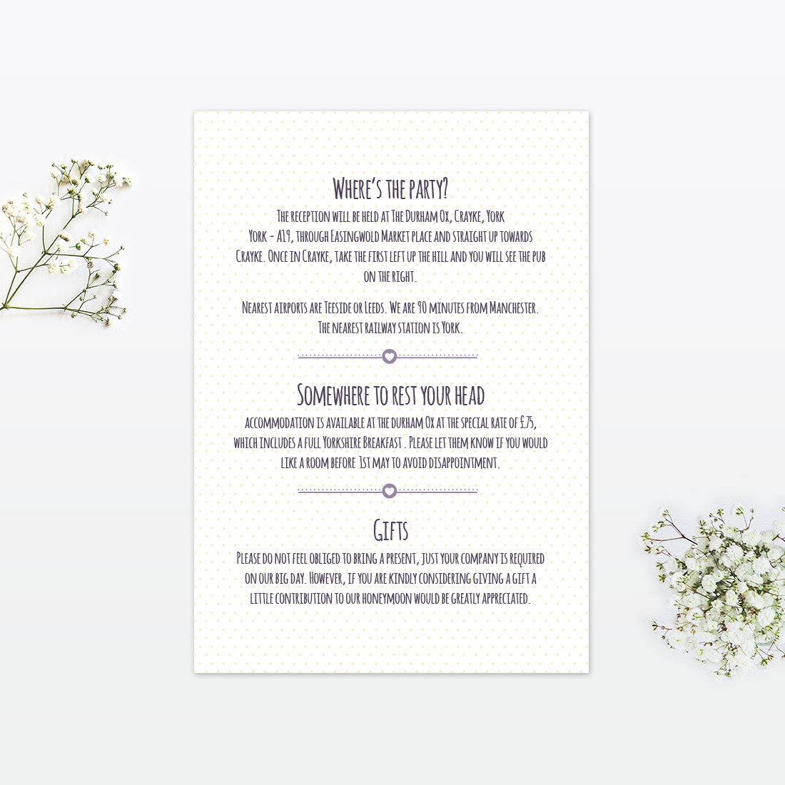 Information To Include On Wedding Invitation: Country Bunting Additional Information