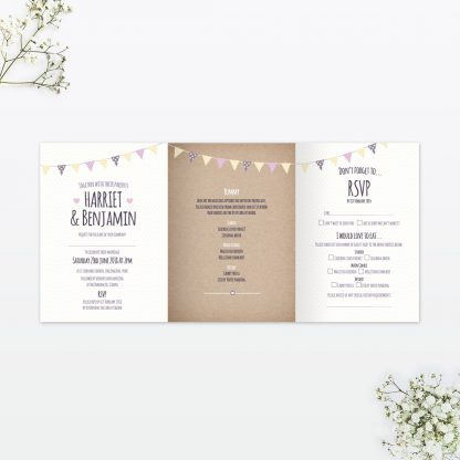 Country Bunting Evening Invitation - Wedding Stationery