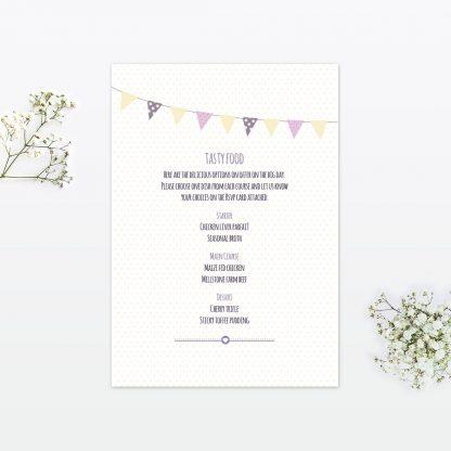 country bunting wedding invitation menu