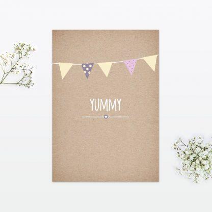 Country Bunting Invitation Menu - Wedding Stationery