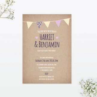 Country Bunting Wedding Invitation - Wedding Stationery