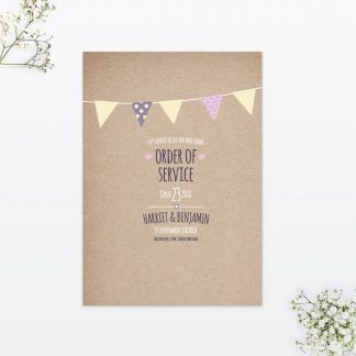 Country Bunting Order Of Service - Wedding Stationery