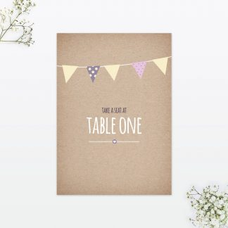 Country Bunting Table Number - Wedding Stationery