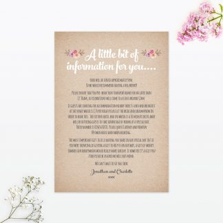 Country Rustic Additional Information - Wedding Stationery