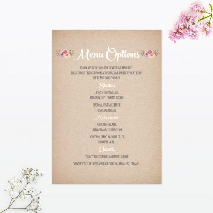 country rustic wedding invitation menu card