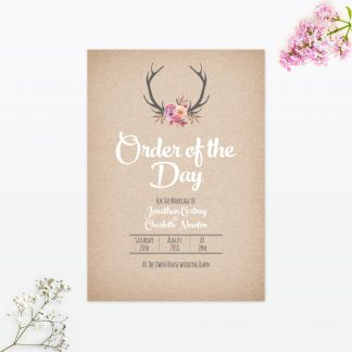 Country Rustic Order of the Day - Wedding Stationery
