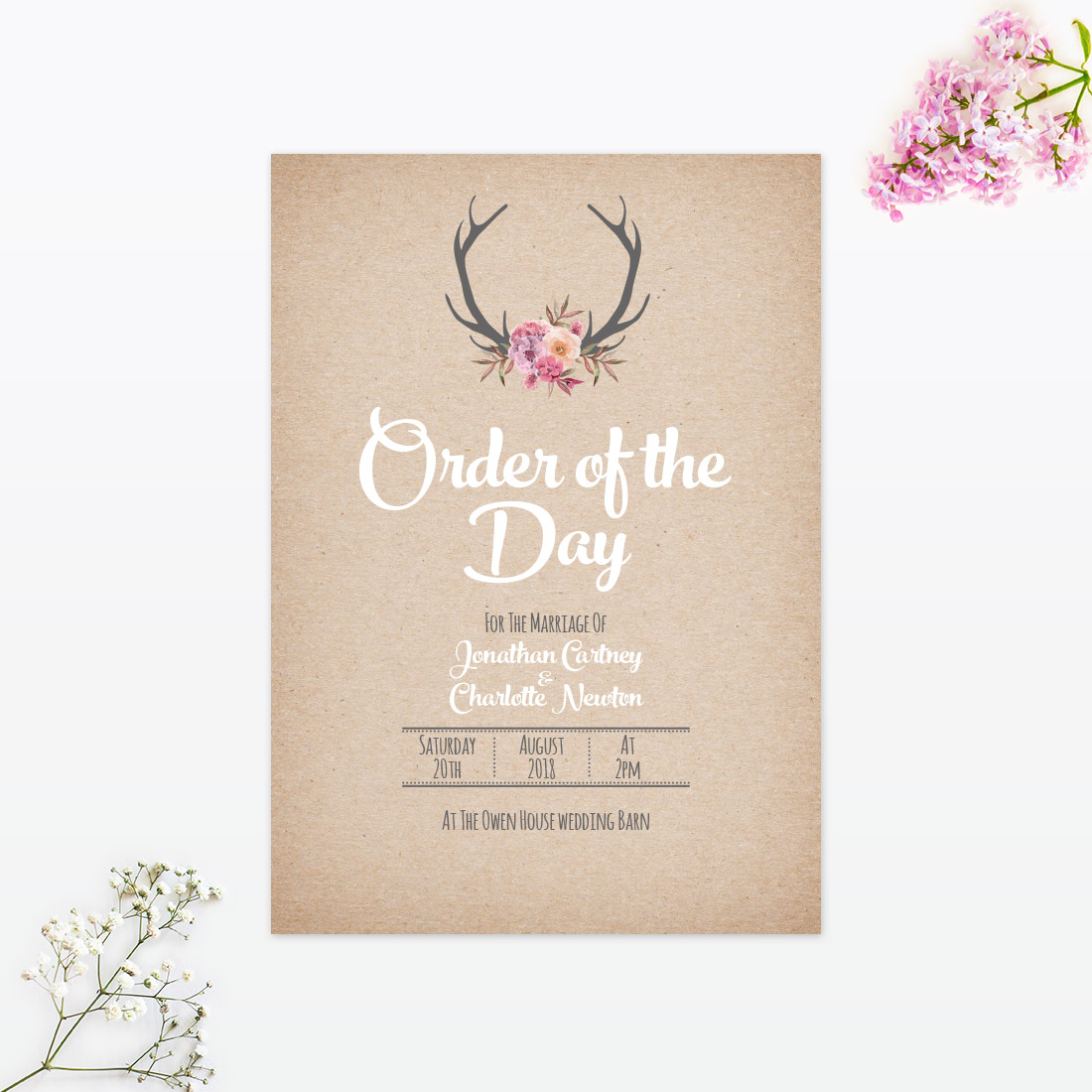 country rustic order of the day love invited