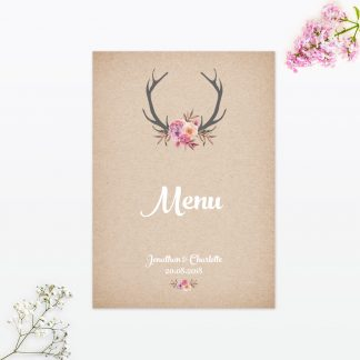 Country Rustic Table Menu - Wedding Stationery
