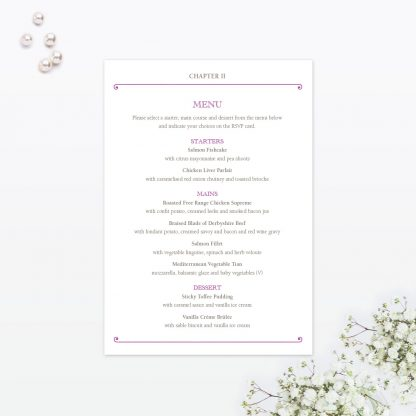 Fairytale Invitation Menu - Wedding Stationery