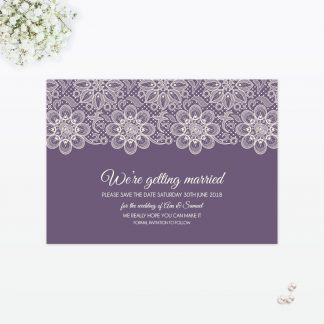 Floral Lace Save the Date - Wedding Stationery