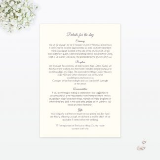 Floral Lace Additional Information - Wedding Stationery