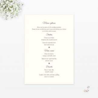 Floral Lace Invitation Menu - Wedding Stationery