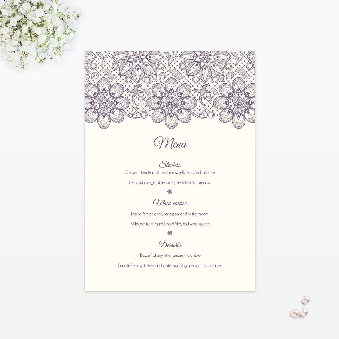 Floral Lace Table Menu - Love Invited - Luxury Wedding Invitations ...