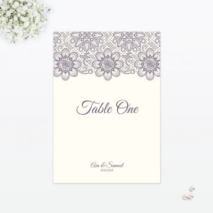 Floral Lace Table Number - Wedding Stationery