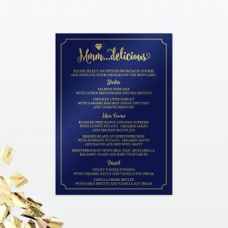 glitz and glamour wedding invitation menu