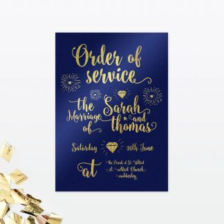 Glitz and Glamour Order of Service - Wedding Stationery