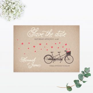 Hearts & Bicycles Save the Date - Wedding Stationery